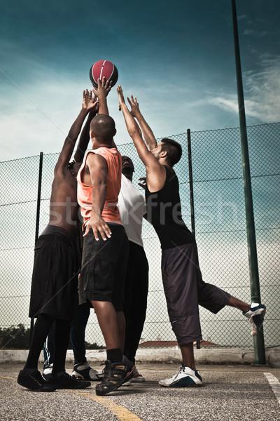Basketbal spelers team straat man achtergrond Stockfoto © iko