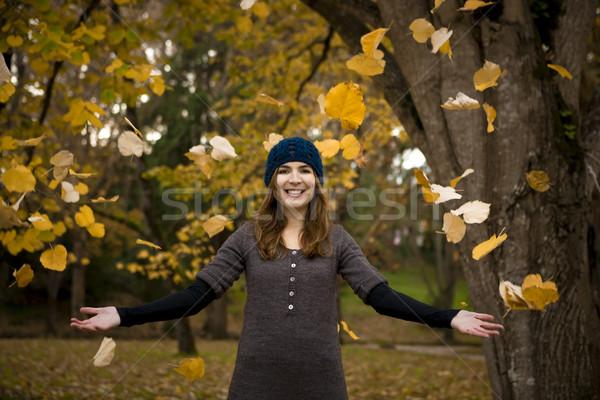 Foto d'archivio: Felice · donna · bella · autunno · giorno · foglie