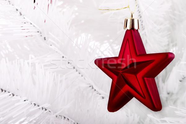 Noël ornements suspendu blanche arbre famille Photo stock © iko