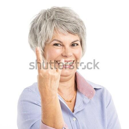 Grappig portret vrolijk vrouw hand Stockfoto © iko