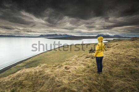 Stockfoto: Natuur · mooie · vrouw · mooie · landschap · vrouw · veld