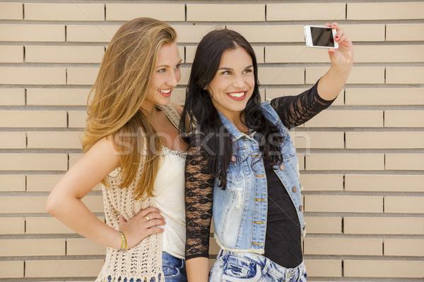 Teenagers making a selfie Stock photo © iko