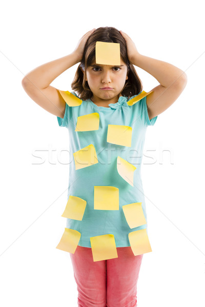 Girl with yellow notes Stock photo © iko