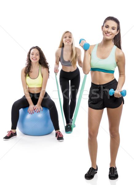 Meisjes gymnasium portret drie mooie atletisch Stockfoto © iko