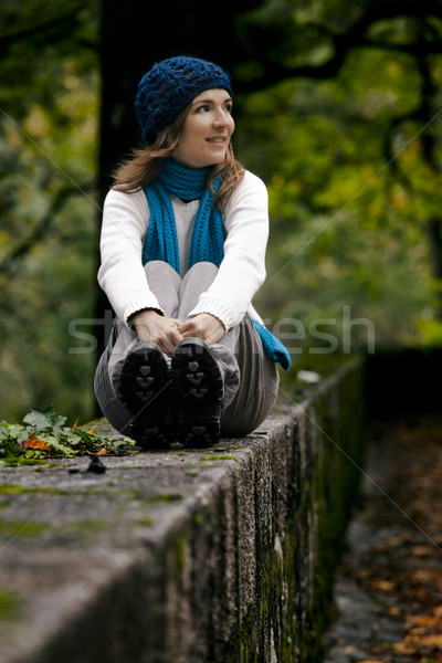 Happy young woman in nature Stock photo © iko
