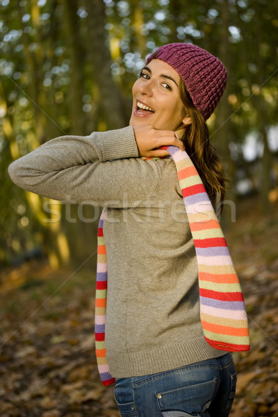 秋 美 肖像 美しい 幸せ 若い女性 ストックフォト © iko