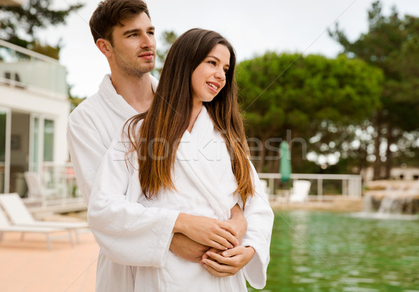 Young couple enjoying vacations Stock photo © iko