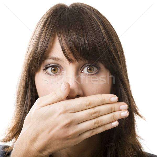 Stockfoto: Verwonderd · gezicht · mooie · jonge · vrouw · hand · geïsoleerd