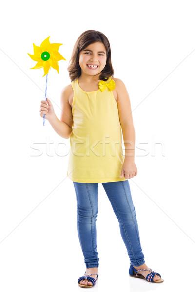 演奏 風車 女の子 おもちゃ 笑顔 幸せ ストックフォト © iko
