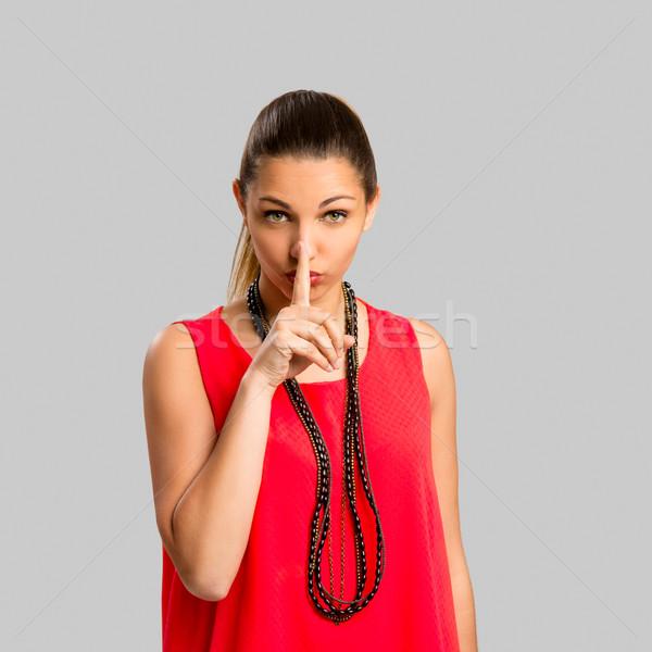 Sessizlik portre güzel bir kadın kadın gülümseme Stok fotoğraf © iko