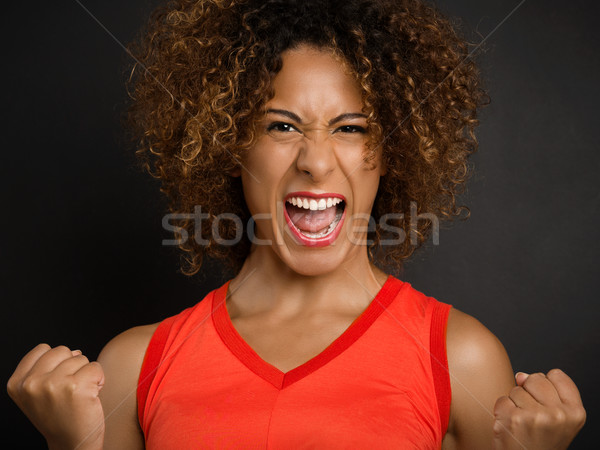 Wat oproep goed nieuws mooie afro-amerikaanse vrouw Stockfoto © iko
