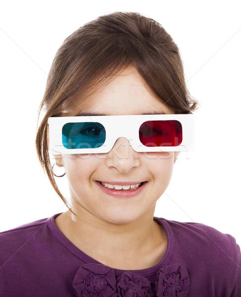 Meisje 3d-bril mooie meisje glimlachend Stockfoto © iko