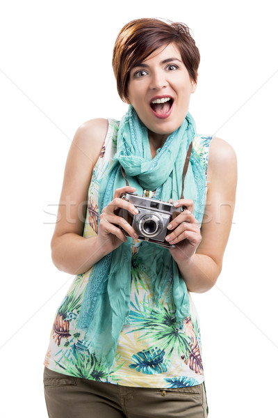 Woman with a vintage camera Stock photo © iko