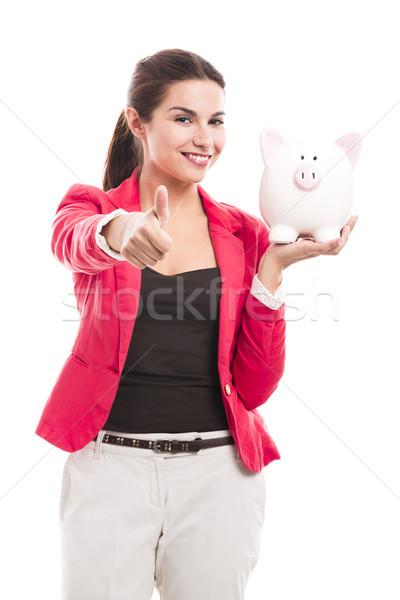 ビジネス女性 貯金 孤立した 白 ストックフォト © iko