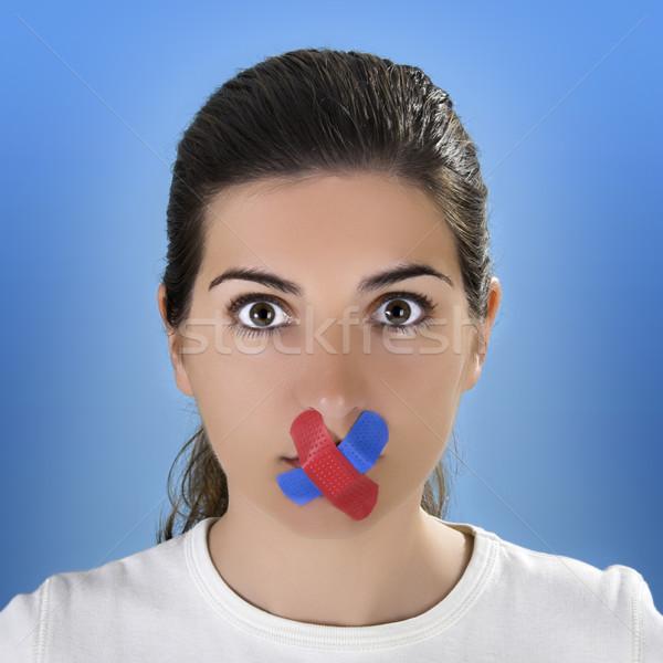 Cross Bandage no the mouth Stock photo © iko