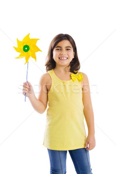 Giocare mulino a vento bambina giocattolo bambini bambino Foto d'archivio © iko