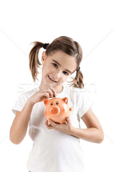 Foto stock: Nina · uno · euros · moneda