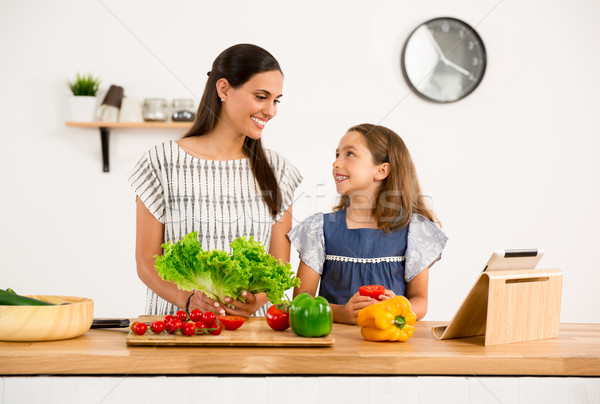 Cozinha tiro mãe filha mulher Foto stock © iko