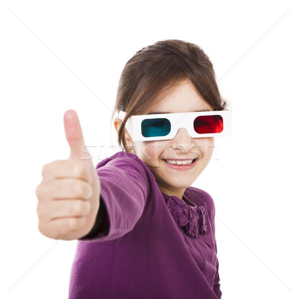 Meisje 3d-bril mooie meisje geïsoleerd Stockfoto © iko