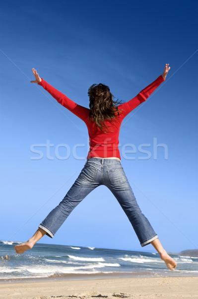 夏 時間 若い女性 ジャンプ ビーチ ストックフォト © iko