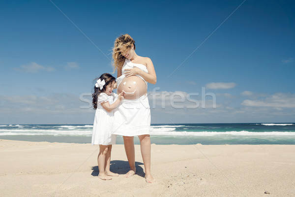 Making a smile on mom's belly Stock photo © iko