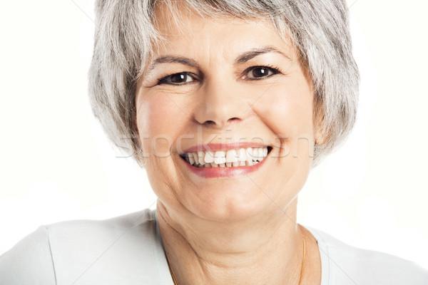 Heureux supérieurs femme souriante isolé blanche Photo stock © iko
