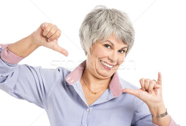 Stockfoto: Positief · oude · vrouw · portret · gelukkig · geïsoleerd · witte