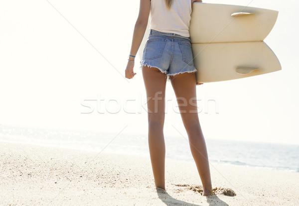 Stok fotoğraf: Sörfçü · kız · güzel · genç · kadın · deniz