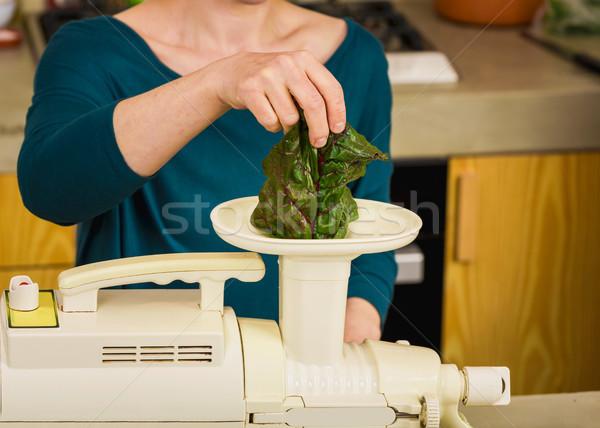 Detoxikáló dzsúz nő gép konyha asztal Stock fotó © iko