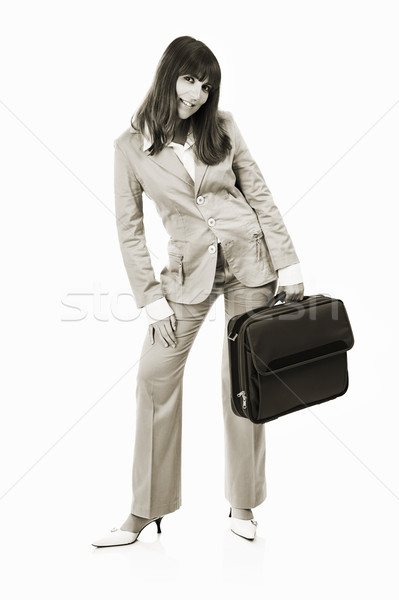 Happy Businesswoman with a briefcase Stock photo © iko