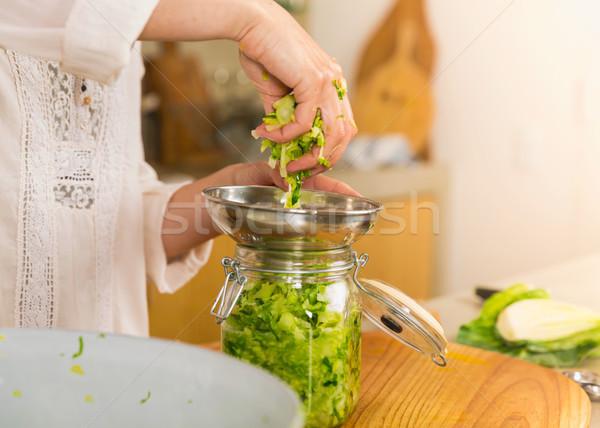 保存 野菜 キャベツ ザウアークラウト ガラス ストックフォト © iko
