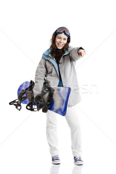 Hódeszka nő lány izolált fehér sport Stock fotó © iko