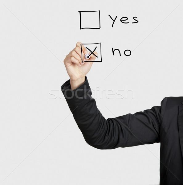Belle femme écrit vote verre bord Photo stock © iko