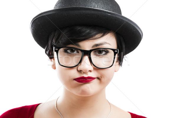 Gelangweilt nerd Porträt schöne Mädchen etwas Stock foto © iko