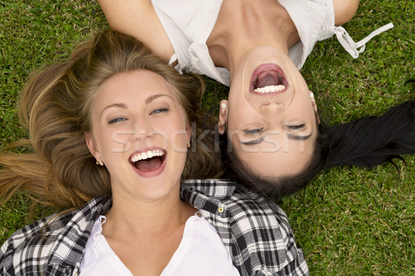 Weiblichen Gras lachen Mädchen Frauen Stock foto © iko