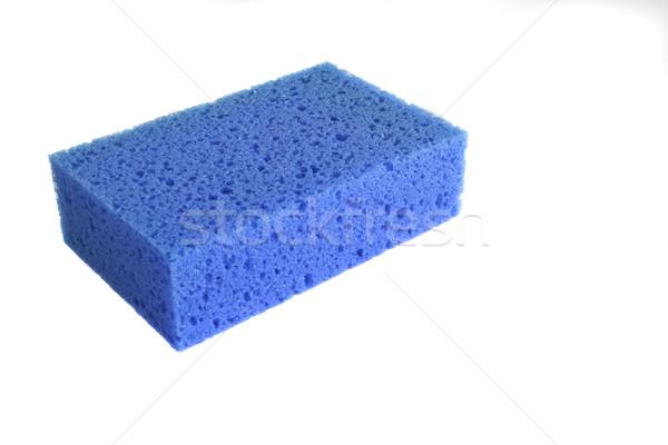 Foto stock: Azul · esponja · aislado · blanco · papel · resumen