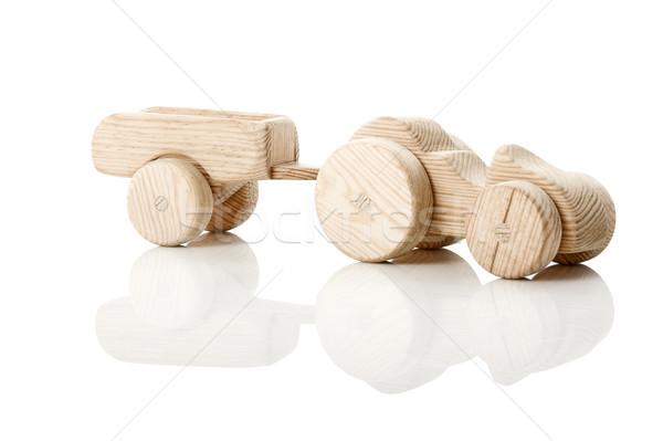 Brinquedo de madeira trator isolado branco reflexão madeira Foto stock © iko