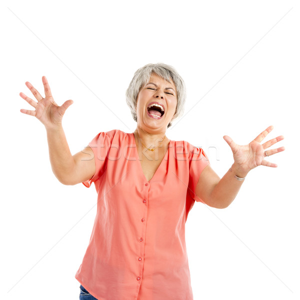 Stressed old woman Stock photo © iko