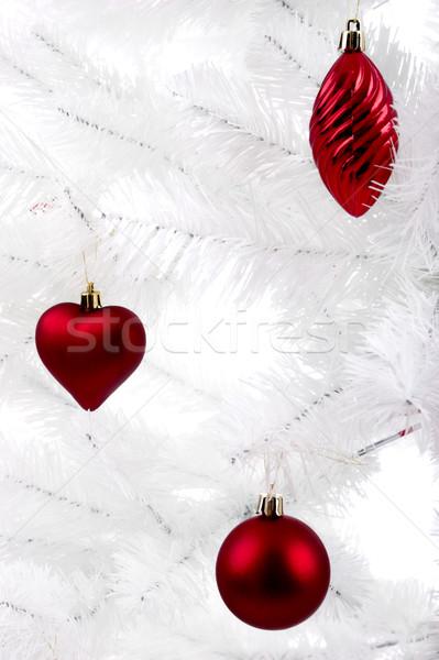Stock fotó: Karácsony · díszek · akasztás · fehér · fa · család
