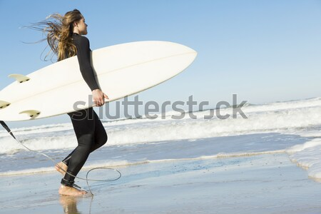 Internaute fille belle plage planche de surf Photo stock © iko