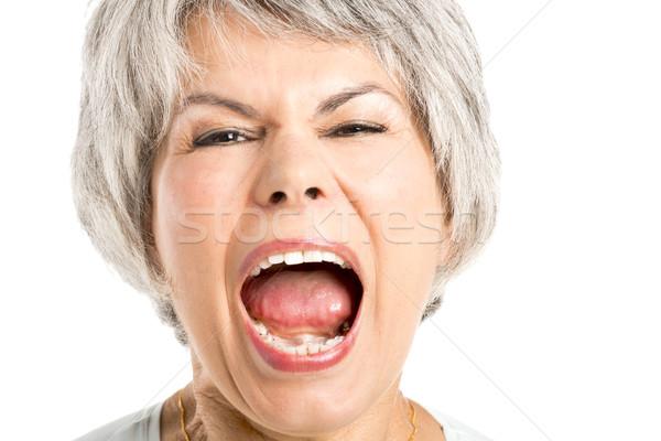 Geschrei Porträt Frau Gesicht Frauen Stock foto © iko