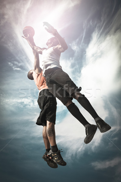 Deux basket joueurs jouer rue Photo stock © iko