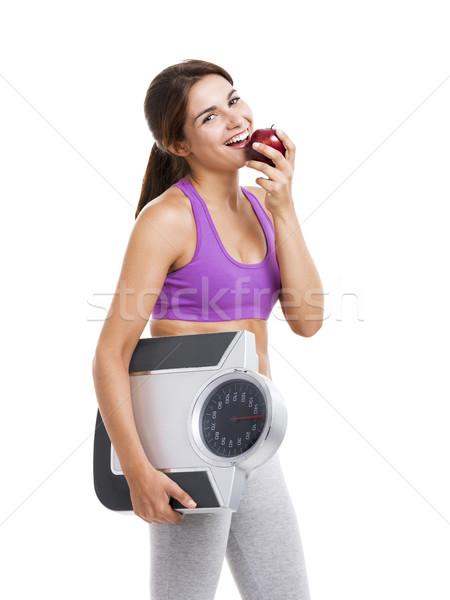 Egészséges étrend gyönyörű sportos nő eszik alma Stock fotó © iko