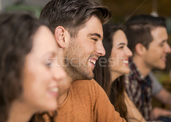 Friends having fun at the restaurant Stock photo © iko