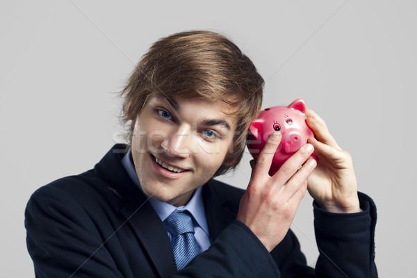 Piggy Bank портрет бизнесмен бизнеса рук Сток-фото © iko