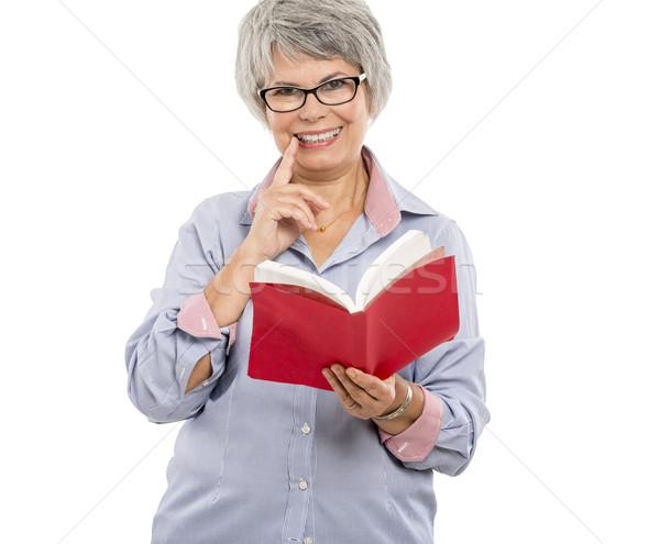 Lectura libro feliz mujer Foto stock © iko