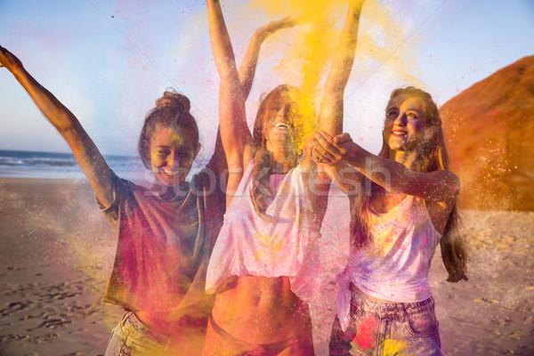 Spelen gekleurd poeder tieners strand voorjaar Stockfoto © iko
