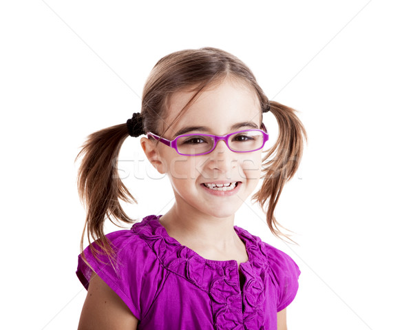 Meisje bril mooi meisje geïsoleerd witte Stockfoto © iko