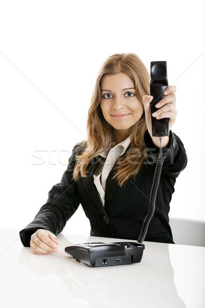 Photo stock: Femme · d'affaires · portrait · belle · femme · d'affaires · bureau · coup · de · téléphone