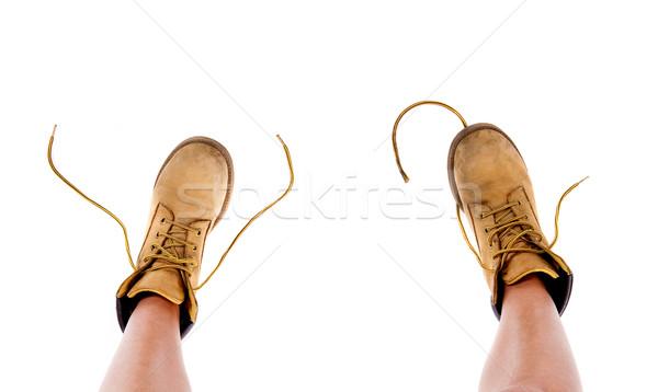 Citromsárga csizma női lábak pár háttér Stock fotó © iko